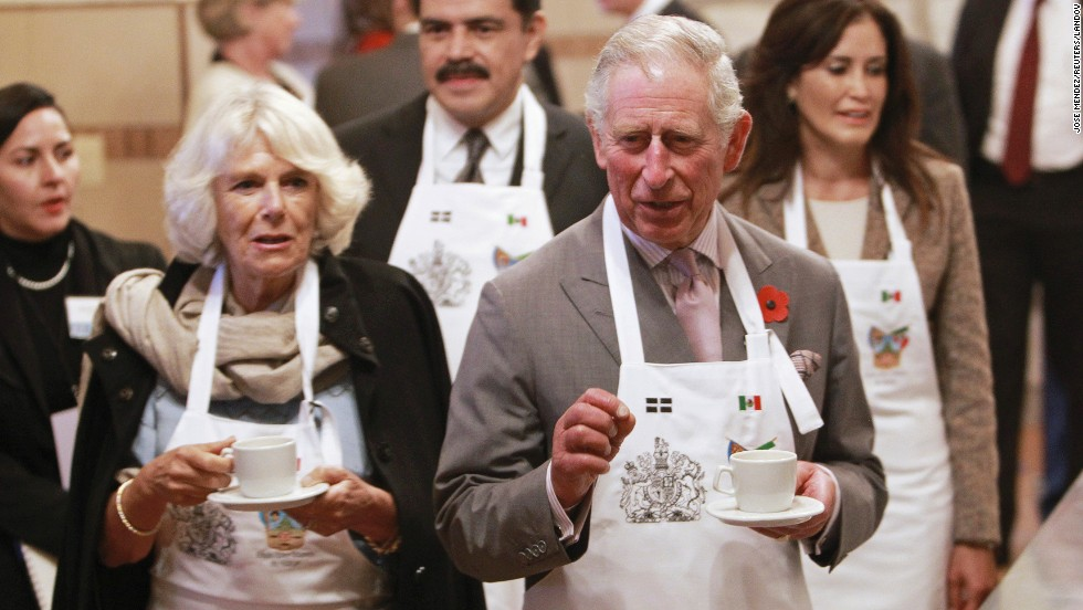 Camilla, Duchess of Cornwall, and Britain's Prince Charles visit the Museum of Paste in Pachuca, Mexico, on Sunday, November 2. Charles and Camilla were in Mexico on a four-day official visit.