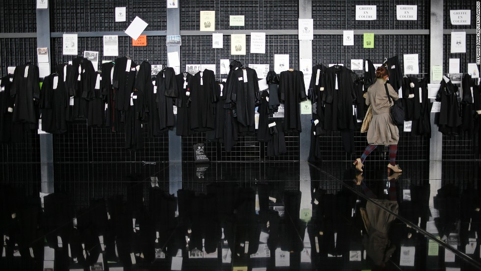 Lawyers' robes hang at the courthouse in Nantes, France, during a strike prompted by government reforms to their profession on Tuesday, November 4.