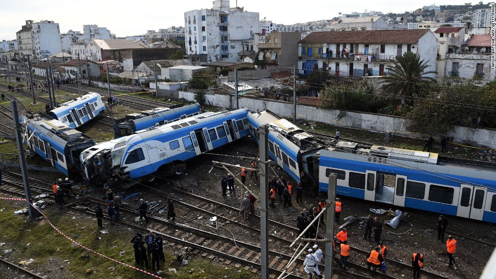 A passenger train derailed in an eastern suburb of the Algerian capital Algiers on Wednesday, November 5. One person was killed and at least 50 were injured.