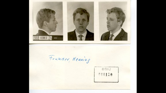 Mugshots of Henning Frunder taken by the Stasi after his arrest.