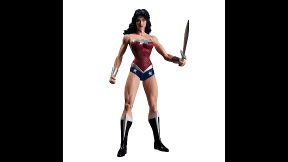 This action figure portrays Amazonian princess Wonder Woman as muscular, strong and bold. The bustier and briefs ensemble harks back to the classic costume from the '70s Lynda Carter television series. The latest big-screen Wonder Woman's look stirred some controversy when a mockup was released last summer.