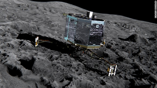 Artist's impression of Rosetta's lander Philae (front view) on the surface of comet 67P/Churyumov-Gerasimenko.