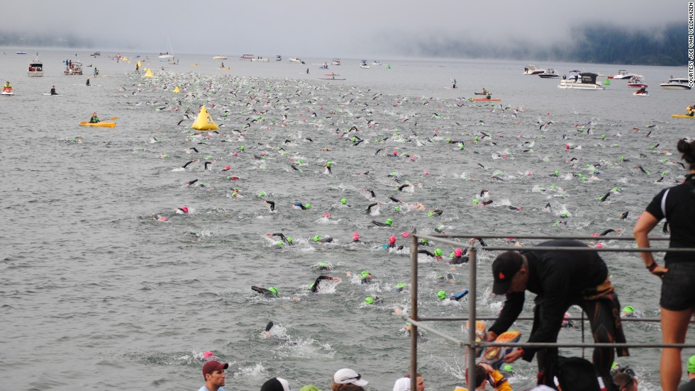 "The beginning of the Ironman can be tough, especially in open-water swimming. Van Veldhuizen says it's like ""a washing machine where people are pounding over each other, swimming over each other."""