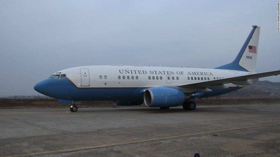 The plane prepares to depart North Korea on November 8.