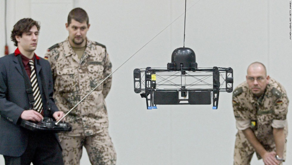 In 2004, German army officers presented this early camera drone at the CeBIT computer technology fair.