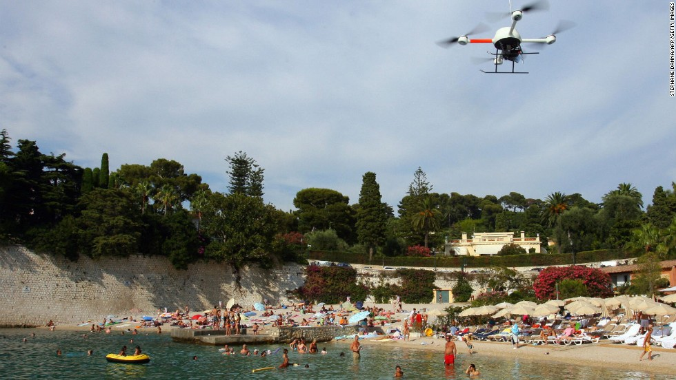 This drone, hovering above a beach in southern France in 2009, carried a thermal-imaging camera -- designed to let scientists check levels of pollution in the sea.
