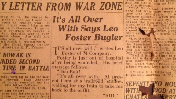 A clipping from a local paper at the end of World War I quotes Foster.