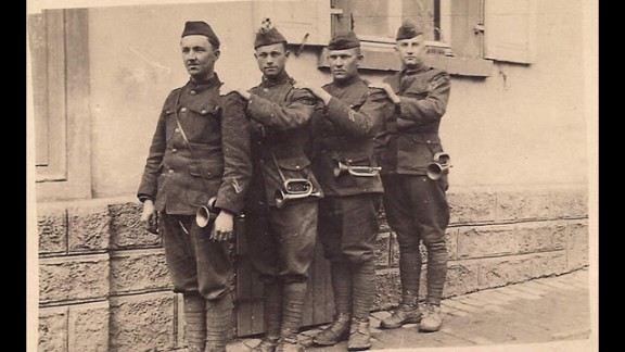Foster, far right, with his fellow buglers.