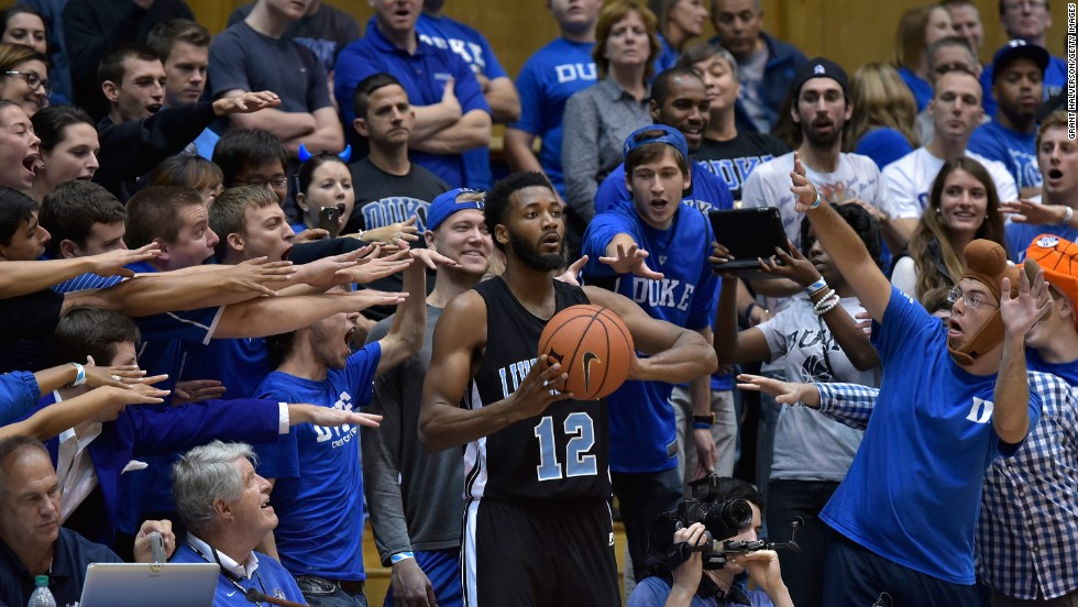 Fans taunt David Williams of the Livingstone College Blue Bears as he prepares to inbound the ball against the Duke Blue Devils at Cameron Indoor Stadium in Durham, North Carolina, on Tuesday, November 4. Duke won 115-58.