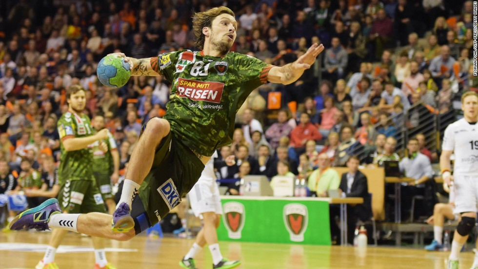 Swedish handball player Fredrik Raahauge Petersen of Fuechse Berlin competes against TSG Friesenheim on Sunday, November 9, in Berlin, Germany.