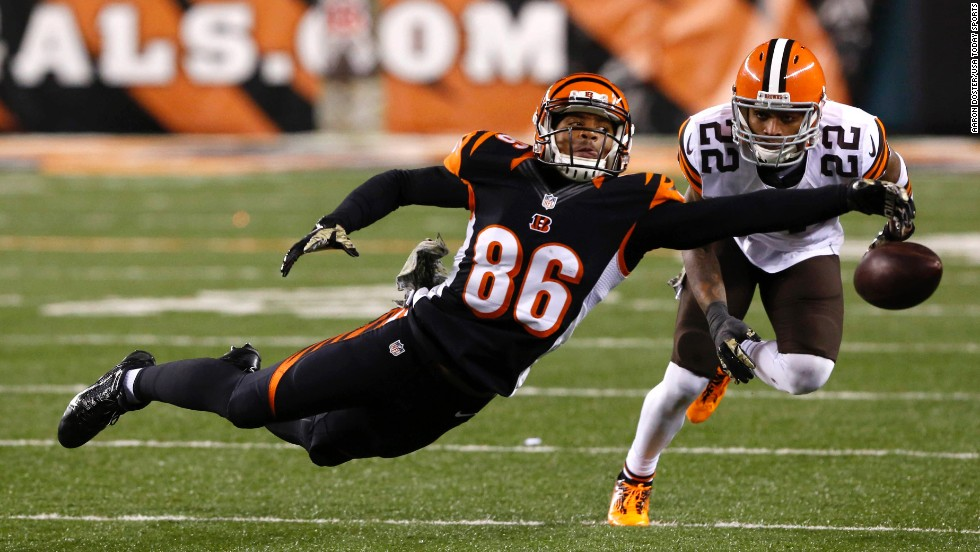 Cincinnati Bengals wide receiver James Wright, left, is unable to make a catch while being defended by Cleveland Browns cornerback Buster Skrine on Thursday, November 6, at Paul Brown Stadium in Cincinnati, Ohio. The Browns won 24-3.