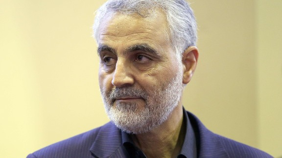 (FILES) In this picture taken on September 14, 2013, the commander of the Iranian Revolutionary Guard's Quds Force, Gen. Qassem Suleimani, is seen as people pay their condolences following the death of his mother in Tehran. For a man widely reported to be playing a key role in helping Iraq's routed military recover lost ground, Qassem Suleimani, 57, the commander of Iran's feared Quds Force, remains invisible. AFP PHOTO/ISNA/MEHDI GHASEMIMEHDI GHASEMI/AFP/Getty Images