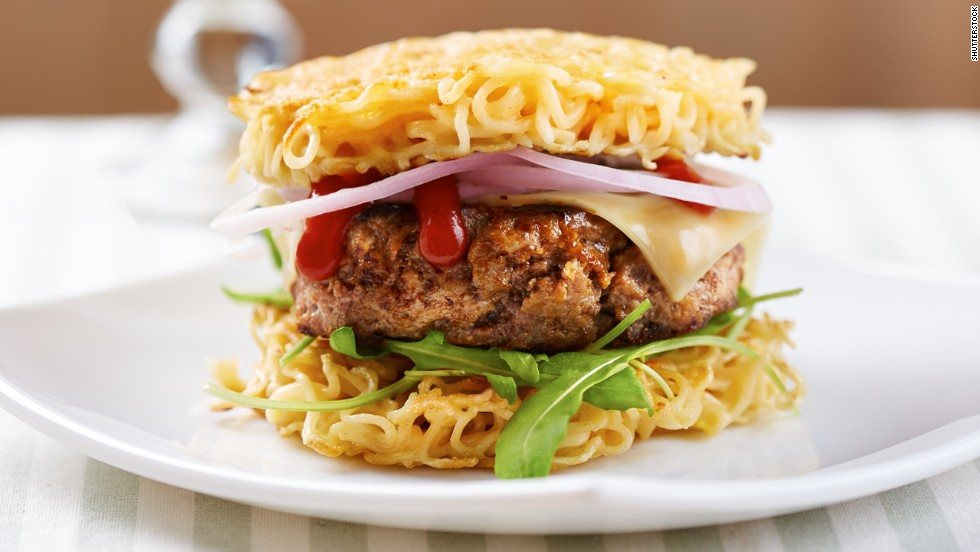 "The burger lends itself to mashups and variations by its sandwiched nature. The Original Ramen Burger, available at its namesake restaurant in Brooklyn, New York, was voted one of the ""<a href=""http://newsfeed.time.com/2014/01/14/the-most-influential-burgers-of-all-time/slide/krusty-burger/"" target=""_blank"">17 Most Influential Burgers of All Time</a>"" by Time magazine in 2013. It consists of a ground beef patty sandwiched between two buns made from fresh ramen noodles."