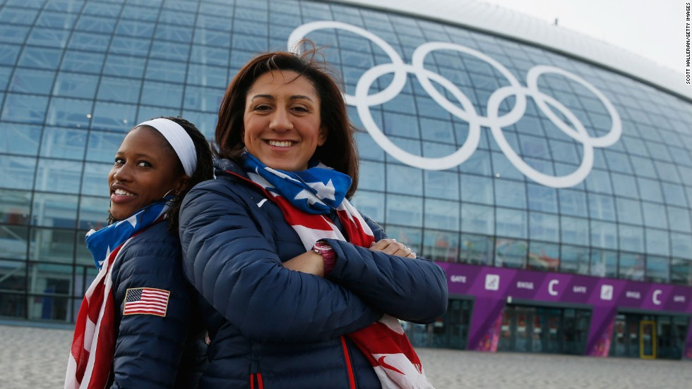 With brakewoman Lauryn Williams (left), an Olympic relay champion on the track at London 2012, Meyers Taylor raced to bobsled silver at the Sochi 2014 Winter Olympics.