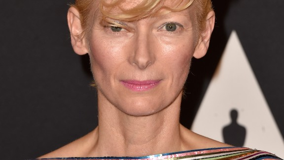 """Tilda Swinton, 54, appeared in a campaign shot by Karl Lagerfeld himself, wearing pieces from Chanel's """"Paris-Edimbourg"""" Métiers d'Art line in 2013."""