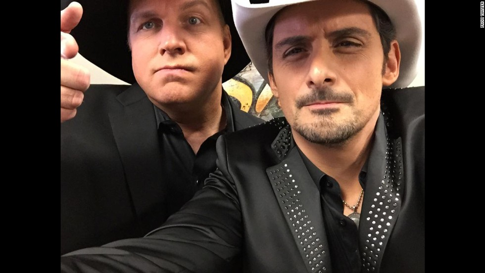 "At the Country Music Awards on Wednesday, November 5, Brad Paisley <a href=""http://www.cnn.com/2014/11/06/showbiz/cmas-highlights-brad-paisley/index.html"">announced the sex of Carrie Underwood's baby</a> on stage. It appears Underwood and her husband, hockey player Mike Fisher, are having a boy. Later that night, Paisley <a href=""https://twitter.com/BradPaisley/status/530176728144945152"" target=""_blank"">tweeted</a> this selfie with Garth Brooks. ""Wanna see my Garth selfie just before I let the cat out of the bag?"" he asked. ""Lil' Garth Fisher. Just sayin'!"""
