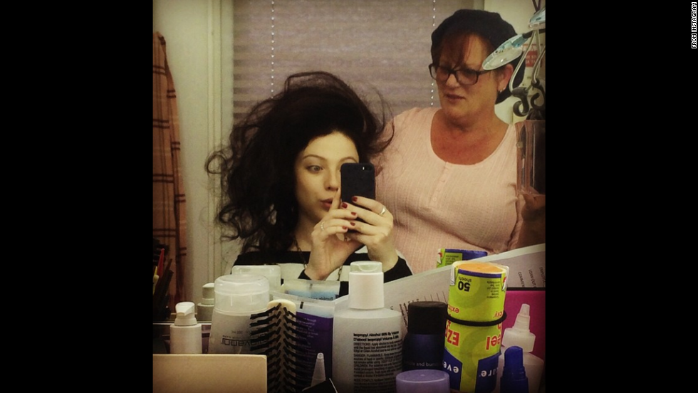 "Actress Michelle Trachtenberg <a href=""http://instagram.com/p/vGWCn4OfC0/"" target=""_blank"">posted this selfie</a> on Friday, November 7, with the hashtag ""#BigHairDontCare. ""This is what we do at 6am in the hair & makeup trailer,"" she said. She plays Abigail Adams in season 2 of Fox's ""Sleepy Hollow."""