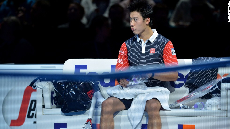 Japan's Kei Nishikori, the first Asian man to play in the World Tour Finals singles, struggled to maintain the form he showed when beating Murray in straight sets on Sunday.