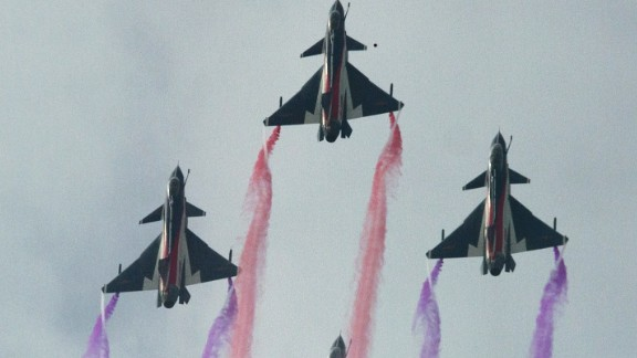 J-10 fighter jets perform at the Airshow China 2014 in Zhuhai, south China's Guangdong province on Tuesday, November 11.