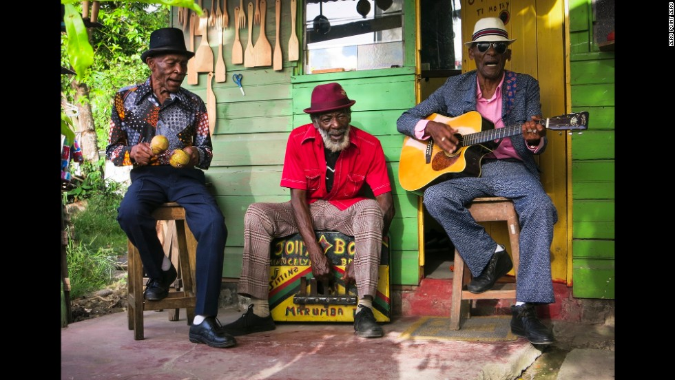 "<a href=""http://www.jollyboysmusic.com/"" target=""_blank"">The Jolly Boys</a> perform some mento music in Port Antonio."