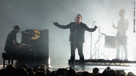 Bono performs on stage during the MTV EMA's 2014 at The Hydro on November 9, 2014, in Glasgow, Scotland.