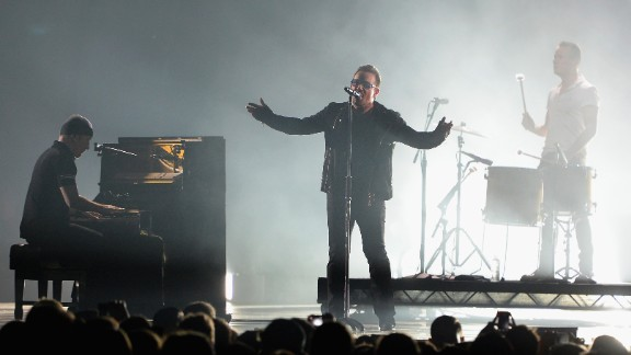 Bono performs during MTV's Europe Music Awards on November 9 in Glasgow, Scotland.
