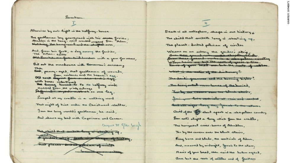 "A long-lost notebook once owned by Dylan Thomas which includes drafts of some of his key poems has been rediscovered and put up for sale at <a href=""http://www.sothebys.com/"" target=""_blank"">Sotheby's auction house</a> in London."