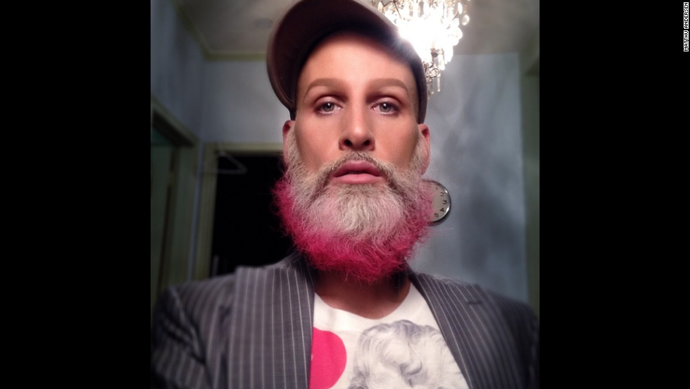 "Posted caption: ""A combination of industrial grade eyedrops, a light shellac of makeup and a cheerful pink tipping of the beard to create the effect of looking only half as bone tired as I feel."""