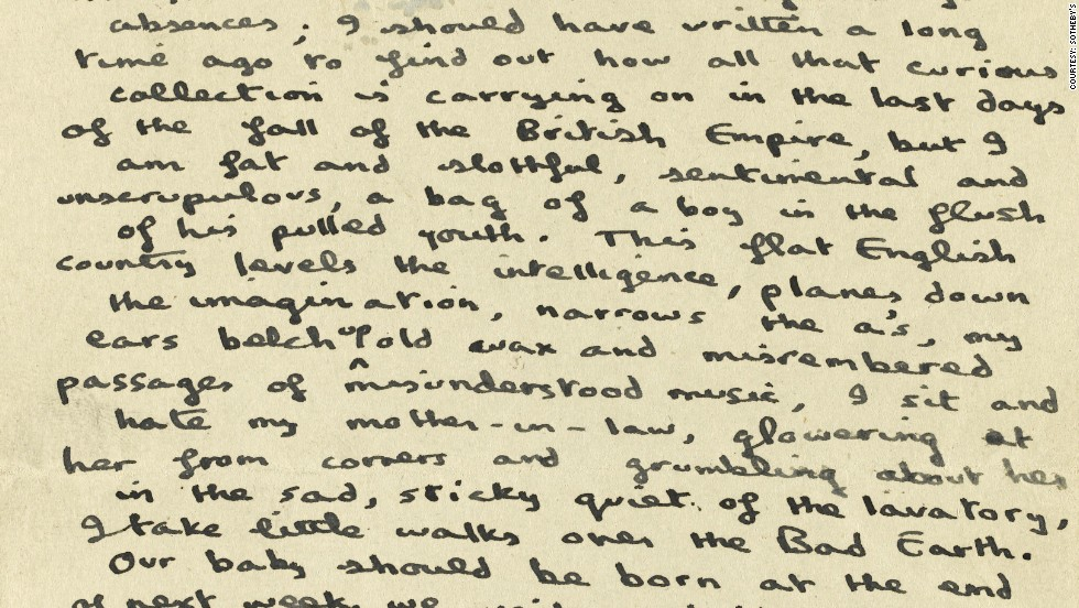 "A letter from Thomas, which accompanies the notebook, explains how much he disliked spending time with his wife's family in in southern England: ""This flat English country levels the intelligence, planes down the imagination ... I sit and hate my mother-in-law, glowering at her from corners and grumbling about her in the sad, sticky, quiet of the lavatory."""