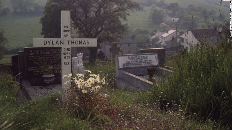 His body was brought back to Laugharne, the south Wales village which had inspired many of his most famous works, and he was buried in the local churchyard (pictured in 1969).