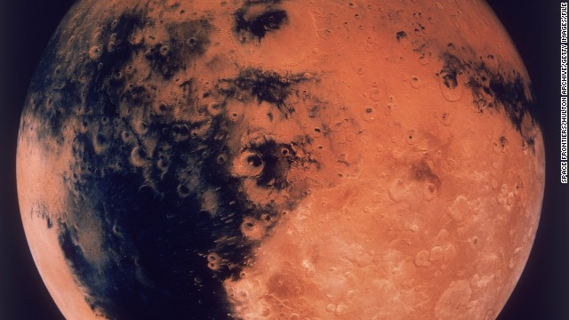 A mosaic of the Schiaparelli Hemisphere of the planet Mars, showing the Schiaparelli Crater, circa 1980. (Photo by Space Frontiers/Hulton Archive/Getty Images)