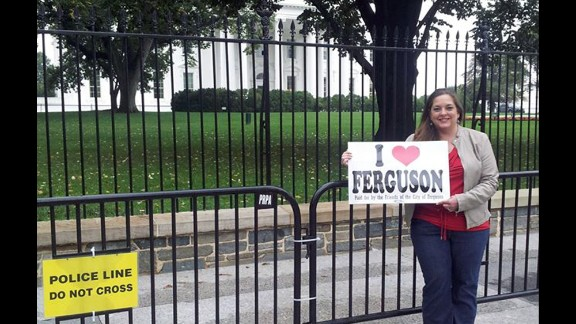 Stefannie Wheat carried this sign about her adopted hometown town all the way to the White House in October.