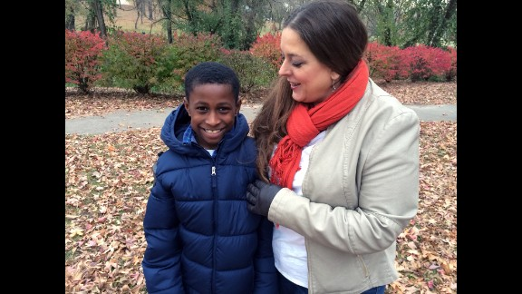 Stefannie Wheat with son Christopher, 10. Race has never been an issue for him, she says.