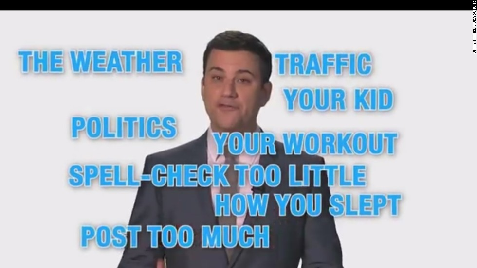 "Monday is National Unfriend Day. Jimmy Kimmel suggests you dump social media ""friends"" who post too much about their lives."