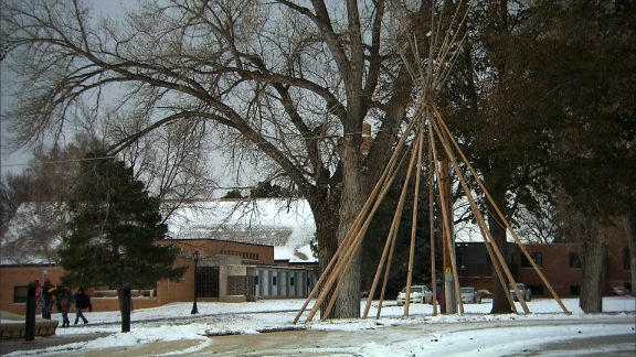 A sculpture of a teepee at St. Joseph