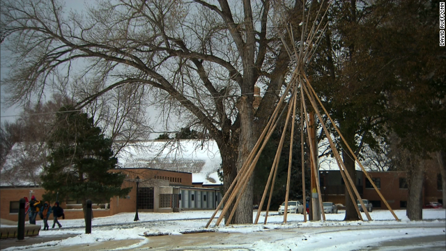 A sculpture of a teepee at St. Joseph's Indian School.