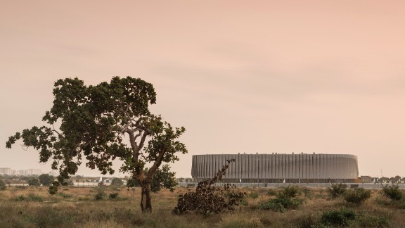 Shortlisted in the sports category at this year's World Architecture Festival, the Luanda Multisports Pavilion, in Angola may not appear particularly striking during the day...