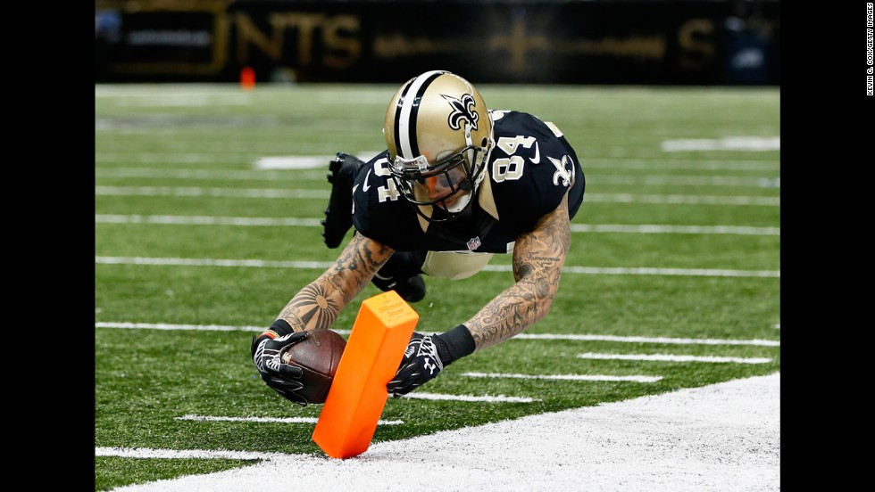 New Orleans wide receiver Kenny Stills scores a touchdown against the Cincinnati Bengals on Sunday, November 16. The Saints lost the home game, however, 27-10.