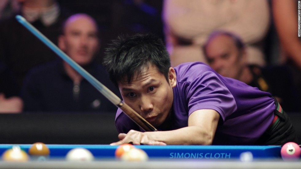 Canadian pool player Alex Pagulayan competes against Darren Appleton during the World Pool Masters event Friday, November 14, in Nottingham, England.