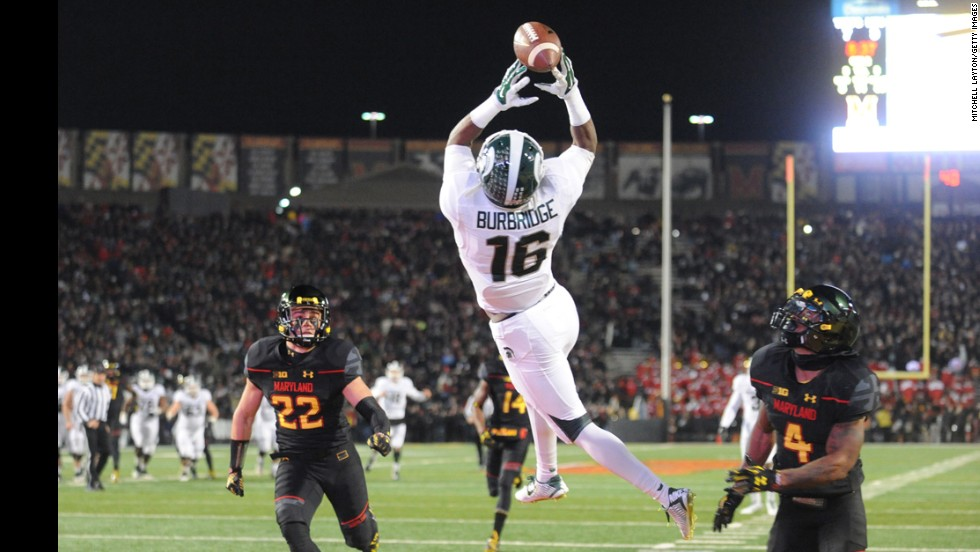 Aaron Burbridge of the Michigan State Spartans reaches for a catch while playing at Maryland on Saturday, November 15. Burbridge couldn't pull in the pass, but the Spartans still won 37-15.