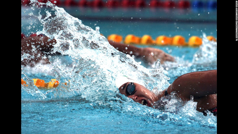 Mexican swimmer Liliana Ibanez competes in the women's 200-meter freestyle Sunday, November 16, during the second day of the Central American and Caribbean Games.
