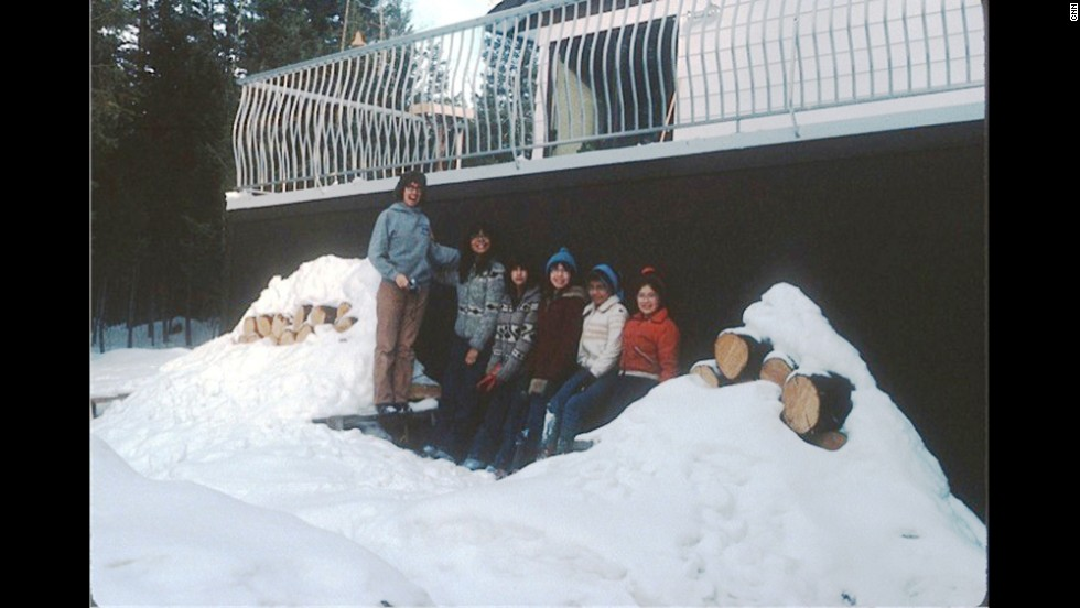 Mom with the five girls outside our family home in 100 Mile House, British Columbia. The Cowichan sweaters my two oldest sisters are wearing were knitted by our grandmother