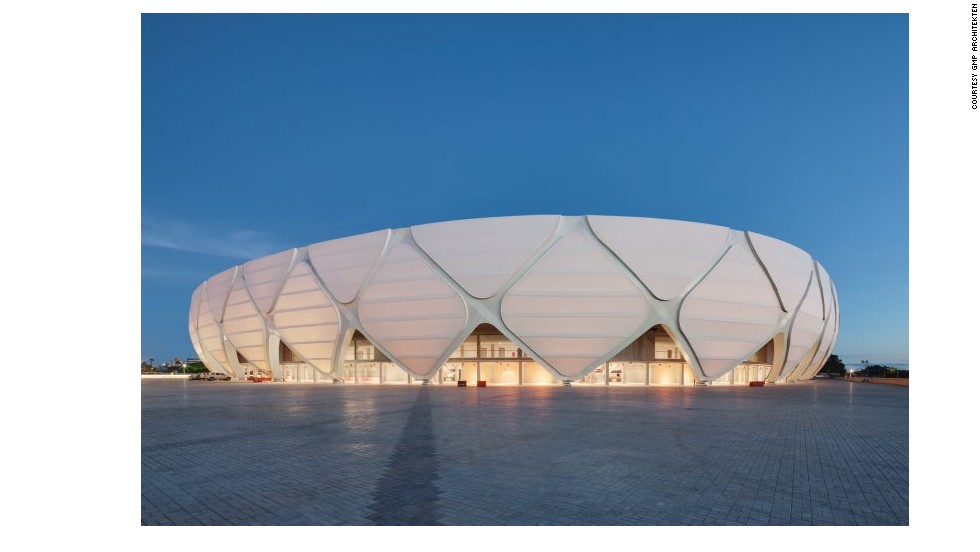 Built for this year's World Cup in Manaus, Brazil, the Amazon Arena's reptilian facade was inspired by wildlife in the surrounding rainforest.