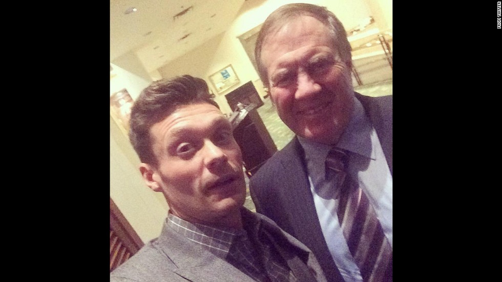 "Television host Ryan Seacrest, left, gets a smile out of Bill Belichick, the usually dour coach of the NFL's New England Patriots, on Friday, November 14. ""Thx coach for coming out to support @ryanfoundation,"" <a href=""https://twitter.com/RyanSeacrest/status/533268994552528896"" target=""_blank"">Seacrest tweeted.</a>"