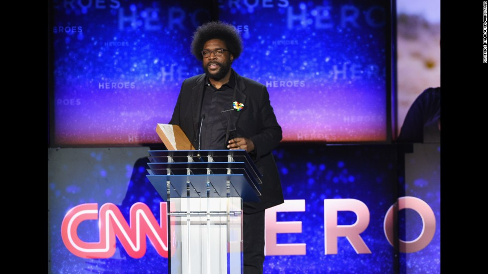 Questlove, drummer for The Roots, introduces one of the CNN Heroes.