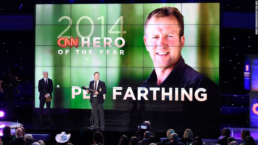 "Pen Farthing, whose nonprofit <a href=""http://www.cnn.com/2014/11/18/world/gallery/2014-cnn-hero-of-the-year-pen-farthing/index.html"">reunites soldiers with the stray dogs</a> they befriended in Afghanistan, was announced as the CNN Hero of the Year. The Hero of the Year, chosen by CNN's audience in an online vote, receives $100,000 to go with the $25,000 each Hero receives for making the top 10."
