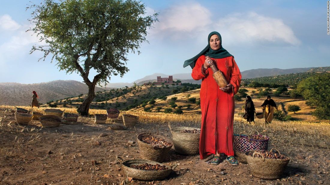 Along the rolling hills of Morocco's southern coast, Nadia Fatmi, pictured, stands as guardian of her homeland's treasured argan oil. For generations, locals have been harvesting the oil by crushing the seeds of the spiky tree for medicinal and culinary purposes. But in recent years, the oil has become a much sought-after beauty product in many Western countries. As the president of the Tighanimine cooperative, Fatmi works alongside 60 women to generate income for the region.