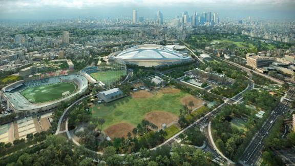 Tokyo Olympic Stadium, designed by Zaha Hadid, artist impression.