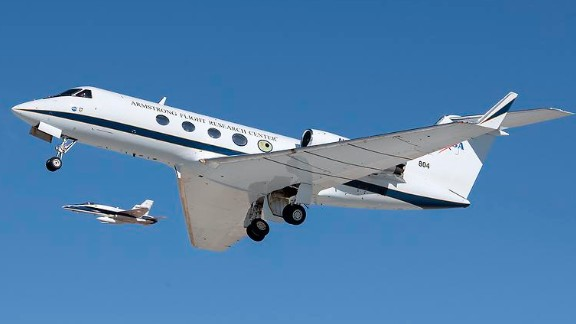 NASA invited social media mavens to tour its Armstrong Flight Research Center in Edwards, California. One project involves this Gulfstream III (right), which is testing new flexible wing technology.