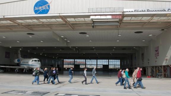 Participants at the NASA event visited a support aircraft hangar housing a Gulfstream aircraft.